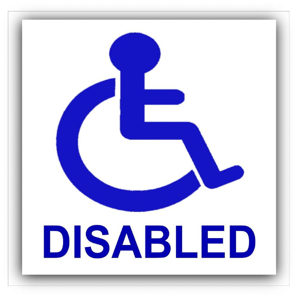 1 X Worded Disabled Sticker Disability Wheelchair